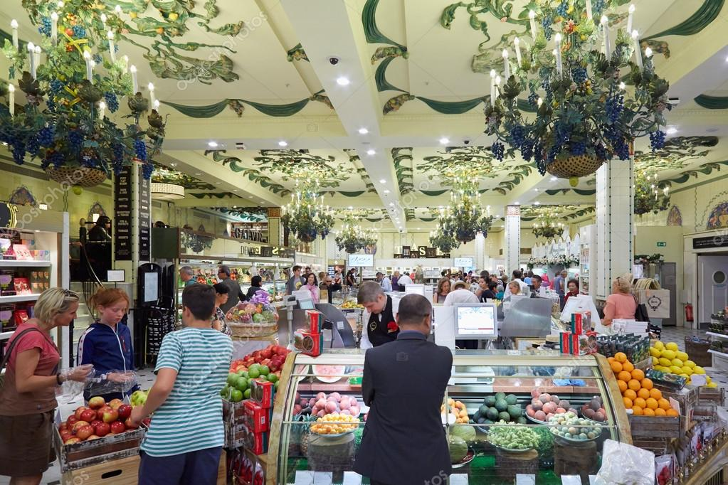 Harrods department store interior, grocery area, in London – Stock ...