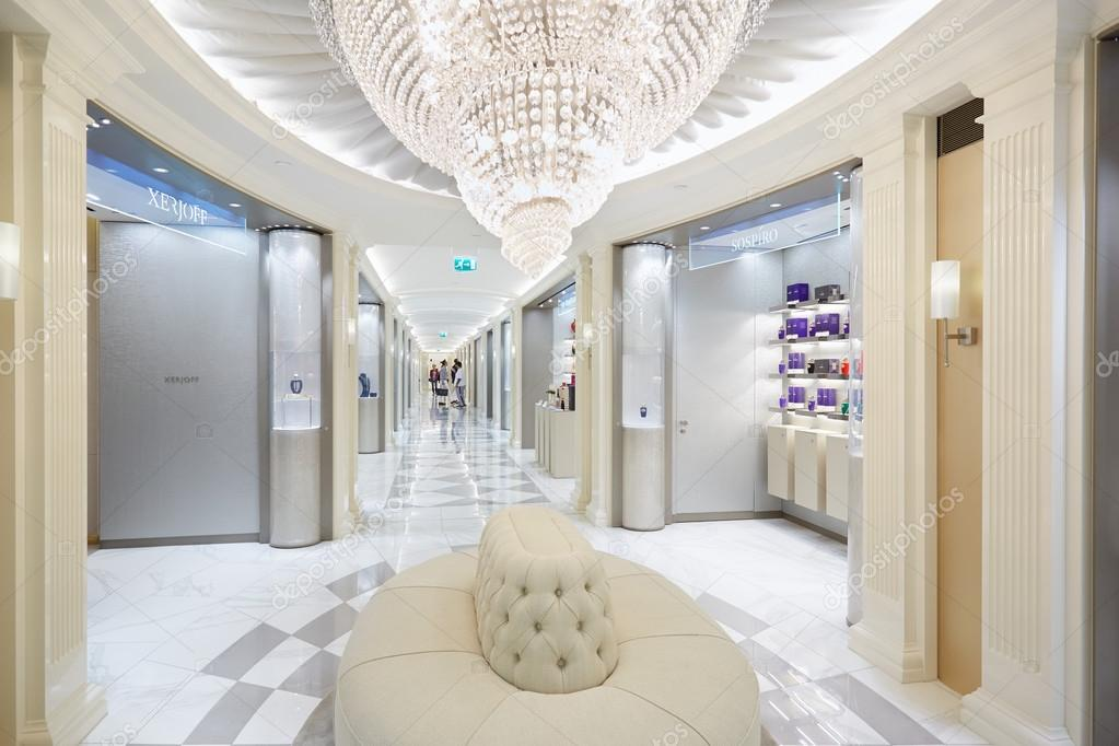 Harrods department store interior, perfumery area with sofa and ...
