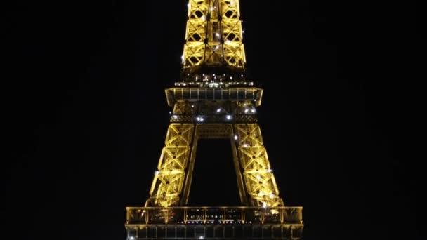 Eiffel tower by night, flashing light performance show in Paris