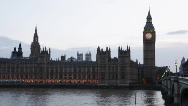 Big Ben and Palace of Westminster at dusk in London, natural light and colors