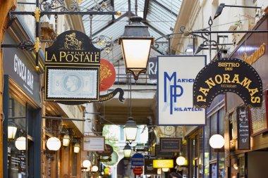 Paris, Passage des Panoramas, shop signs