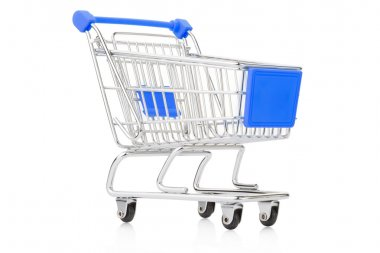 Blue shopping cart isolated on white, clipping path included stock vector