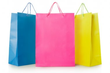 Colorful shopping bags in paper isolated on white, clipping path