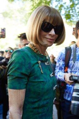 Anna Wintour poses for photographers before Fendi show, Milan fashion week