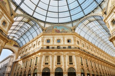 Milan, Vittorio Emanuele gallery interior, dome view in a sunny day