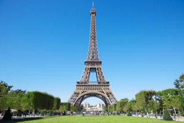 Eiffel tower, sunny summer day with blue sky and green grass in Paris