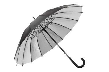 Black umbrella with silver interior isolated on white