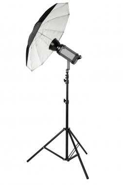 Studio flash with umbrella and stand on white, clipping path
