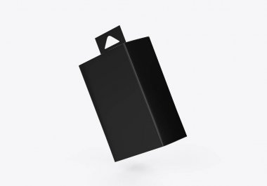 Blank paper box packaging with hang tab, mock up template on isolated white background, ready for design presentation, 3d illustration