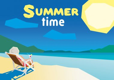Woman resting on the beach on a deck chair. flat design summer beach and sea cartoon. low poly
