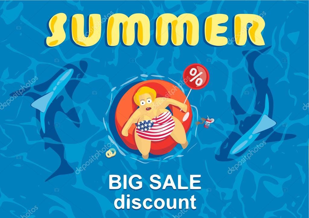 Summer big discount. Shark around a fat man on mattress