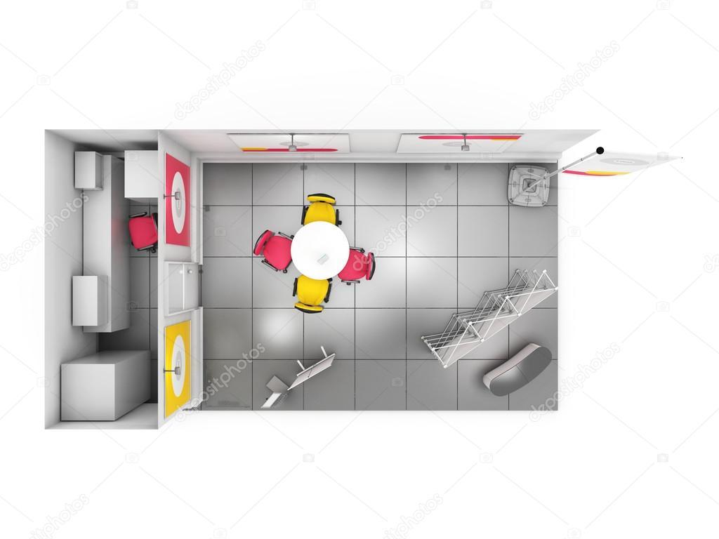 Creative Exhibition Stand Design : Blank creative exhibition stand design with color shapes d