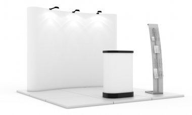 Empty trade event stand. Trade exhibition stand. White blank trade show booth