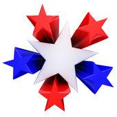 κόκκινο, λευκό και μπλε αστέρια