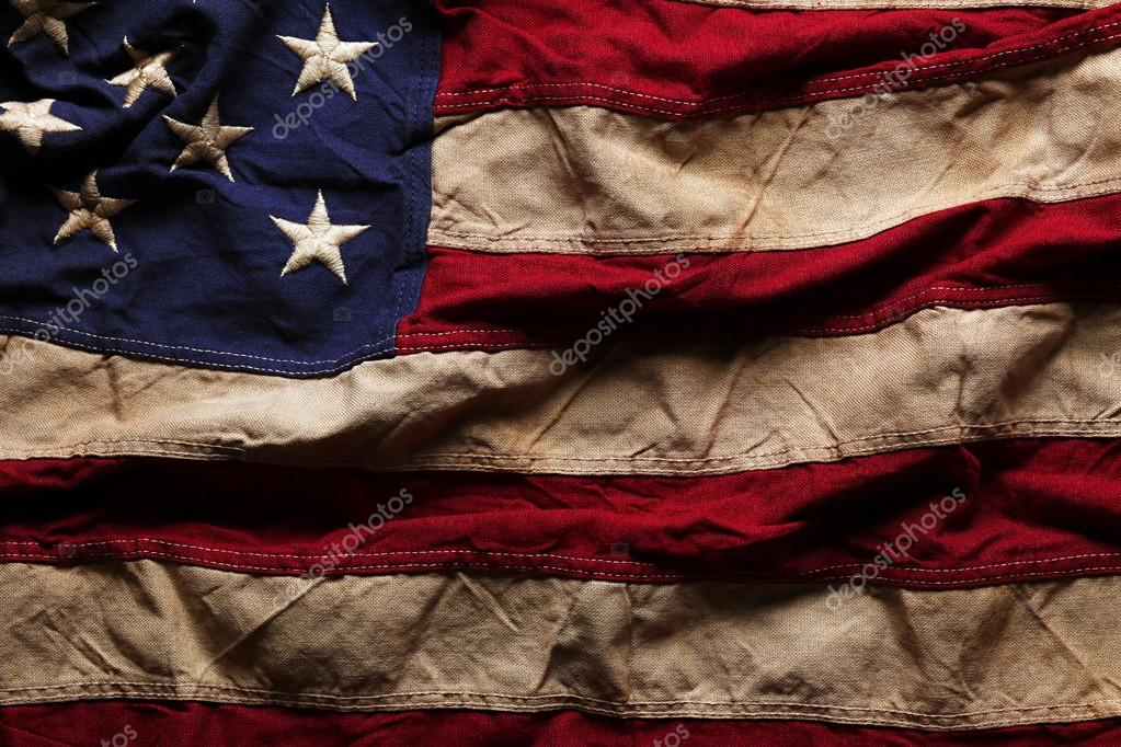 old american flag background for memorial day or 4th of july stock
