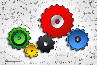 cog wheels sketch in color