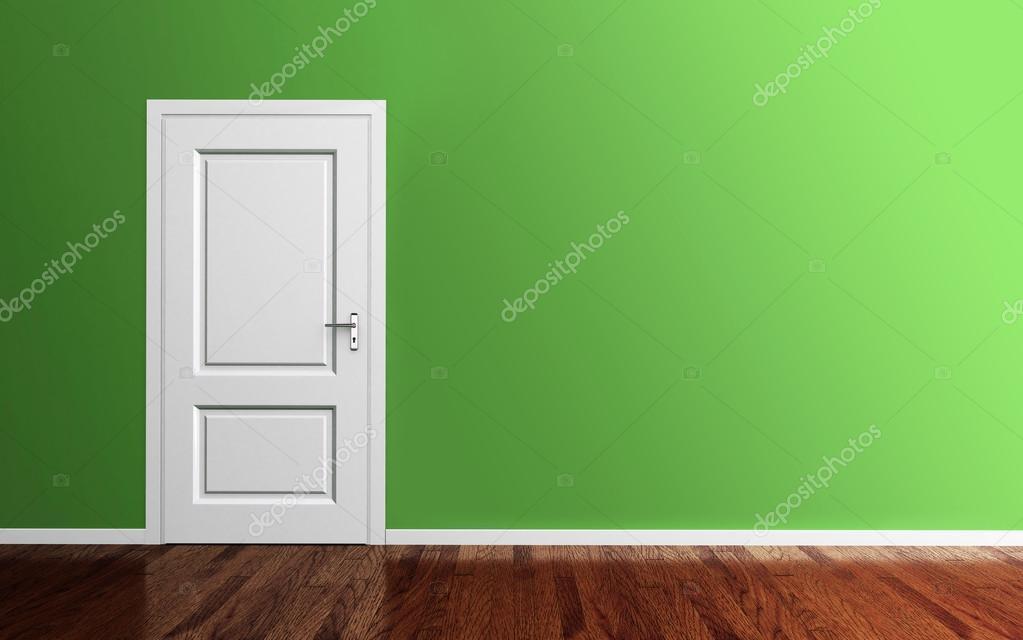 Intérieur d\'une chambre verte avec rendu 3d porte blanche ...