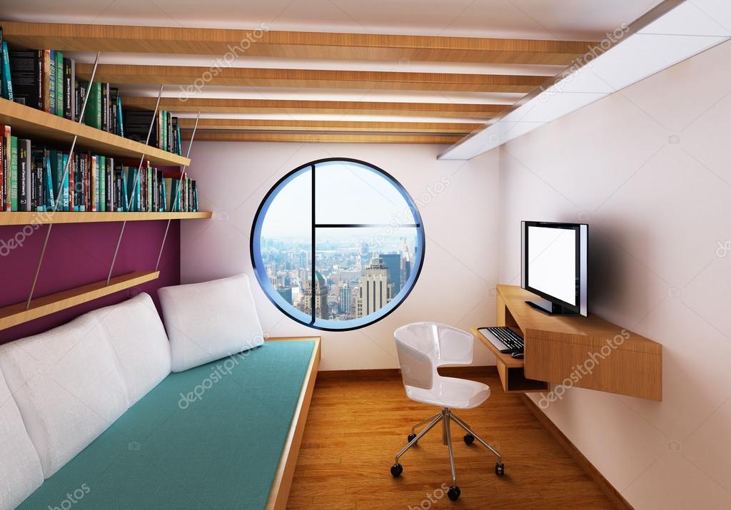 Intérieur moderne chambre avec bureau pc lit et vue de haut