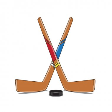 Crossed Hockey Sticks and Puck.