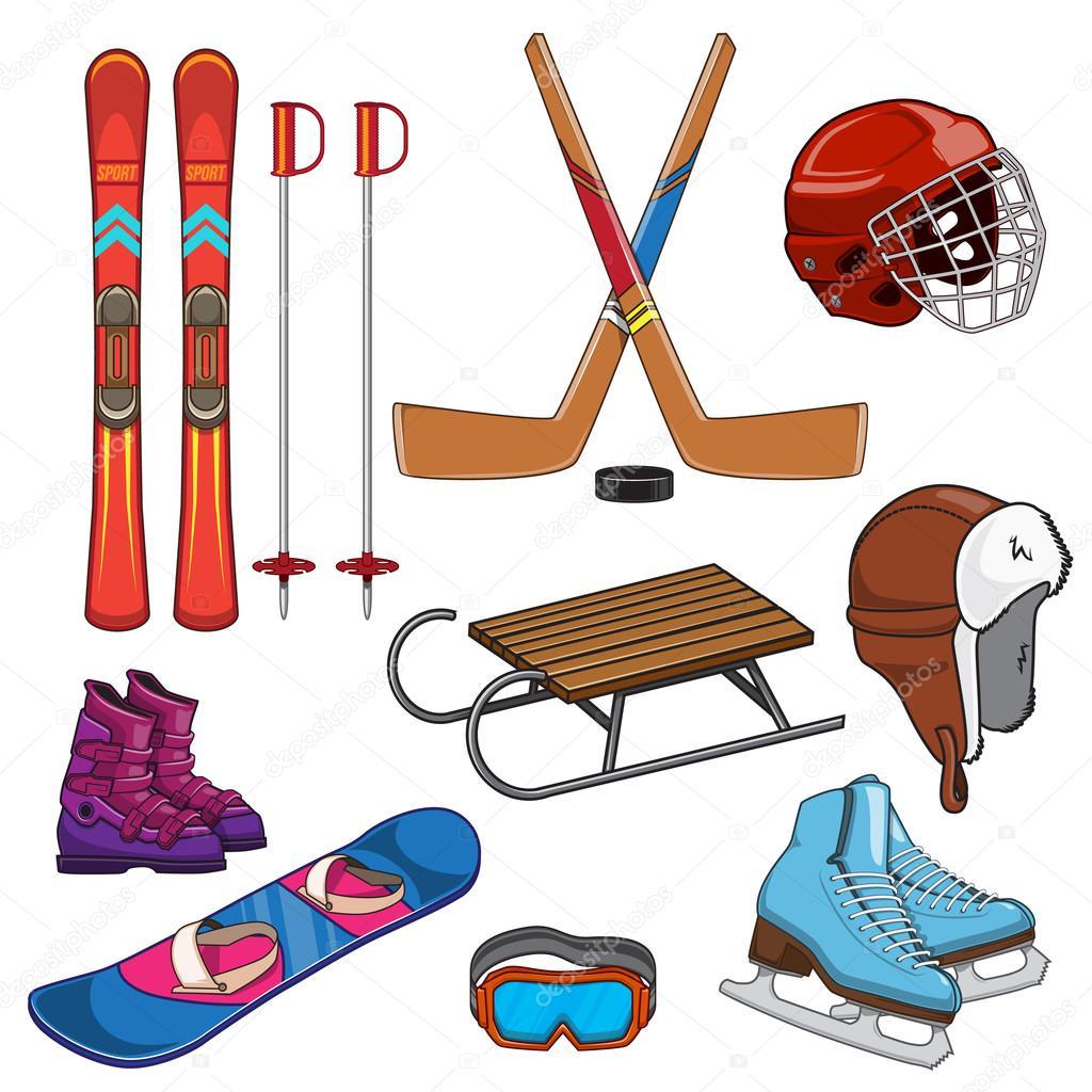 Зимний спортивный инвентарь картинки для детей