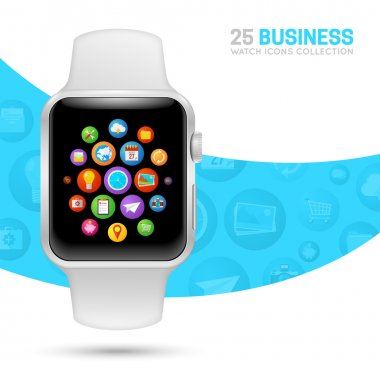 Smart watch with white wristband.