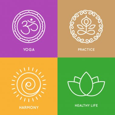 Yoga line symbols in colorful squares.