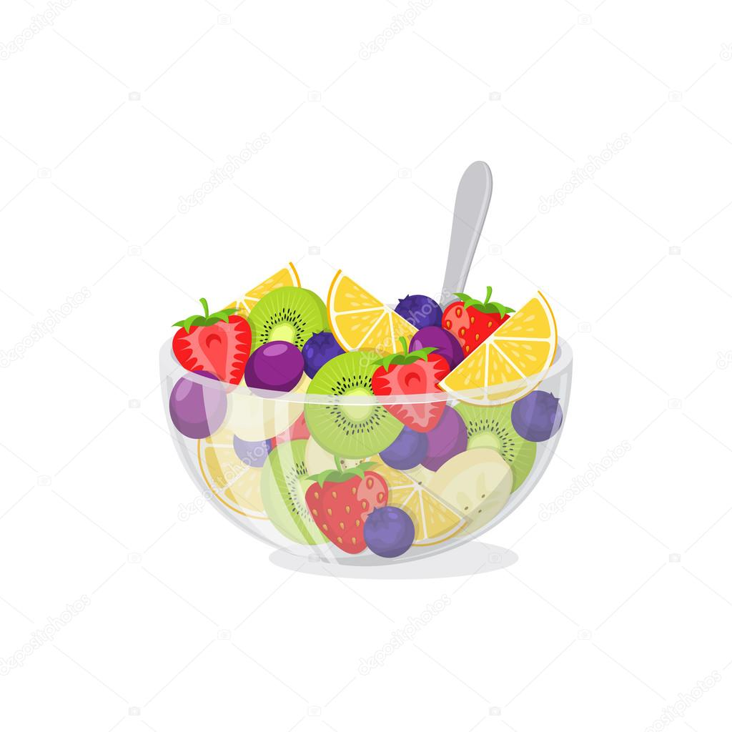Fruit salad in glass bowl.