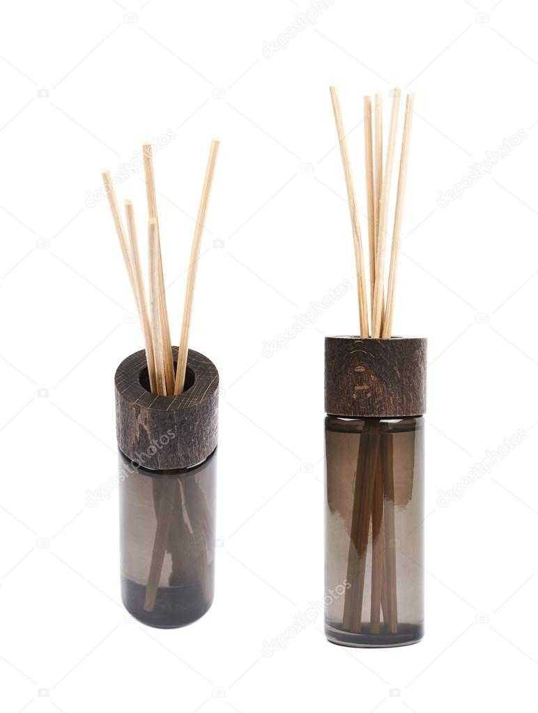 Aroma sticks in a glass vial isolated