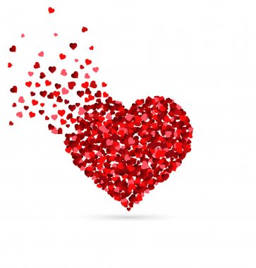 Hearts scattering from a heart shape
