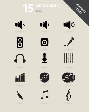 Collection of audio and music icons