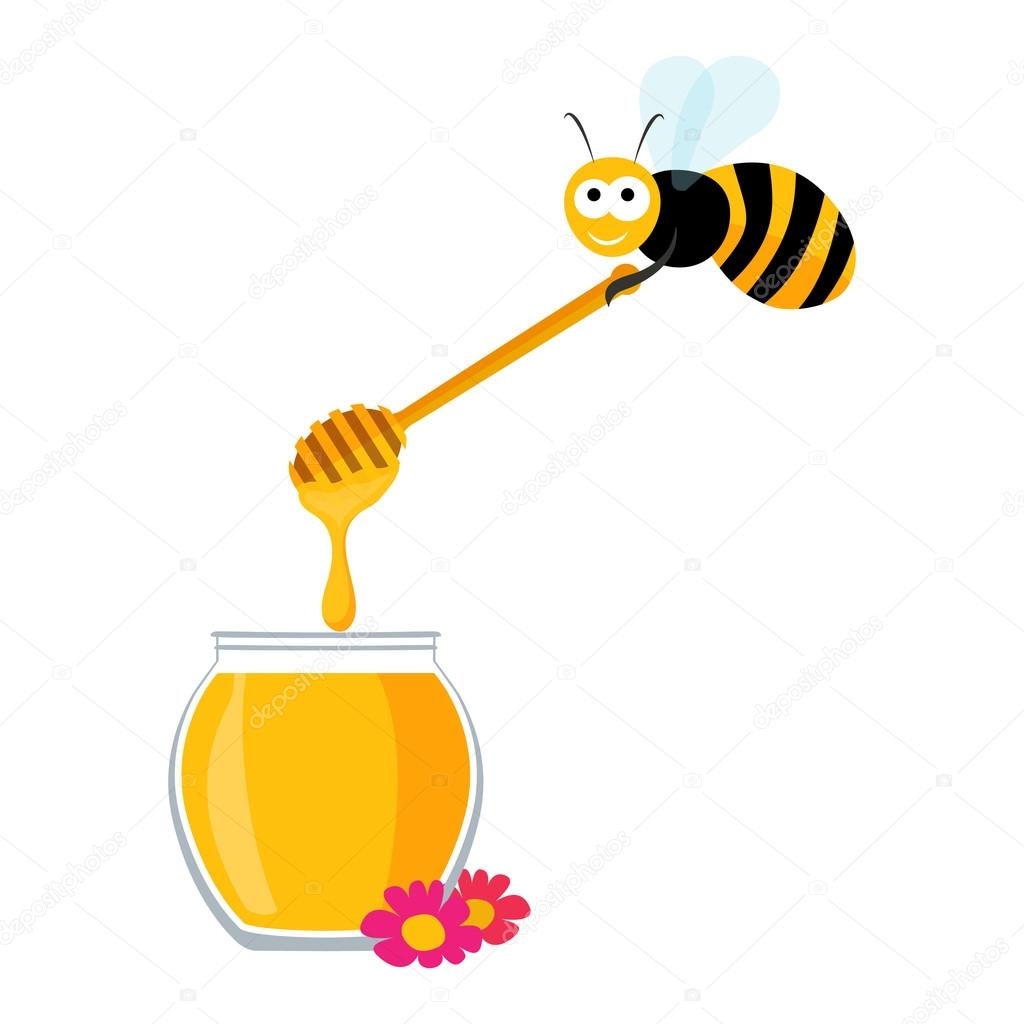 Cute bee carrying a wooden honey spoon and a jar of honey