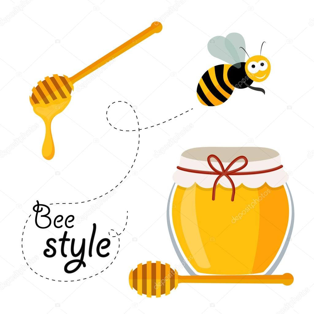 Bee, honey and honey spoon in vector