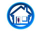 Fotografia Manichino donna e casa blu