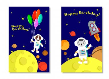 Happy birthday greeting card template with space illustration. Space illustration .