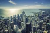 Východ slunce nad Chicago finanční okres letecký pohled