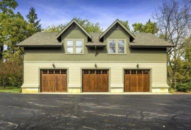Large american three door car garage