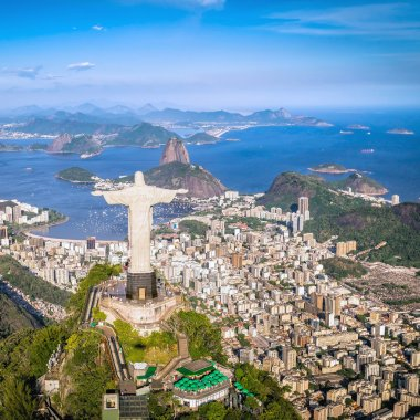Rio de Janeiro, Brazil : Aerial view of Christ and Botafogo Bay from high angle stock vector