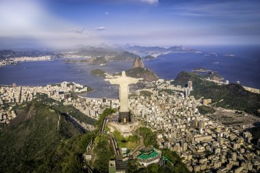 Rio de Janeiro, Brazil. Aerial view of Christ and Botafogo Bay from high angle stock vector