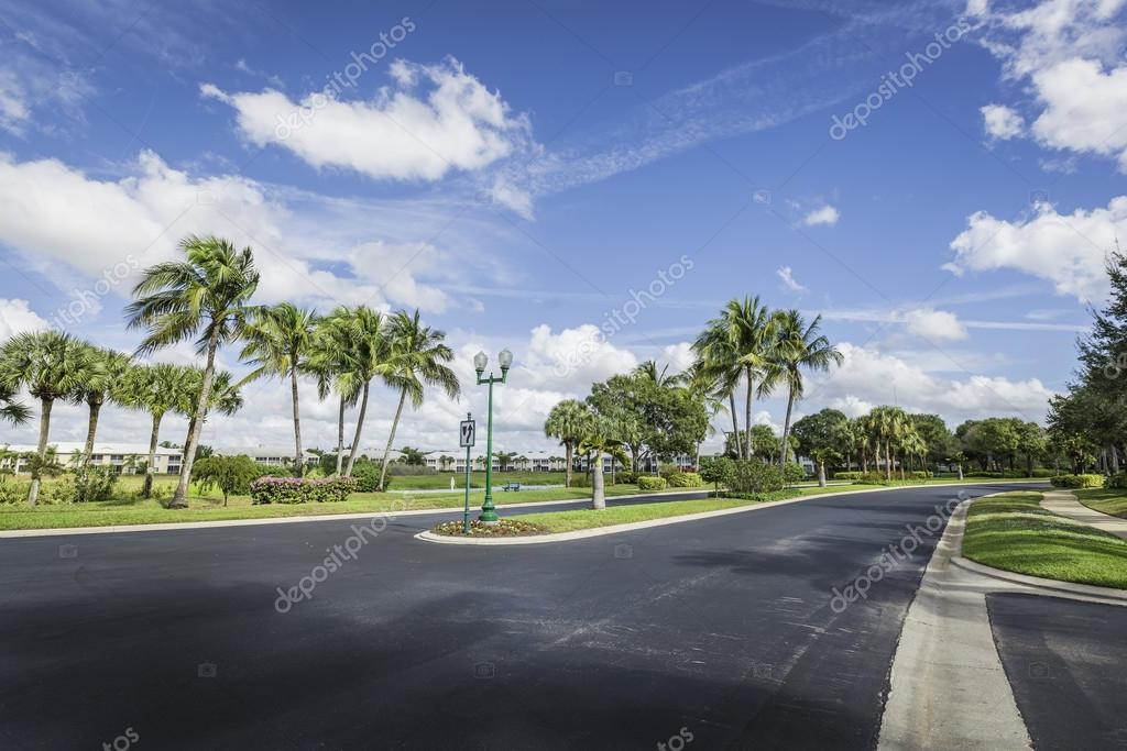 Gated community road and condominiums