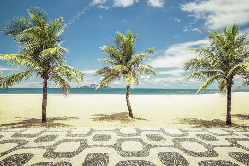 Фотообои Palms with mosaic on Empty Ipanema Beach