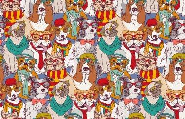 Cute dogs seamless pattern