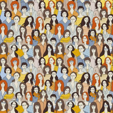 Big group women seamless pattern Only women. Big crowd with happy young pretty unrecognizable women. Color vector illustration. clip art vector