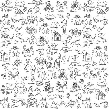Casual objects seamless pattern