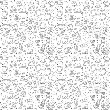 Cook objects doodles seamless pattern