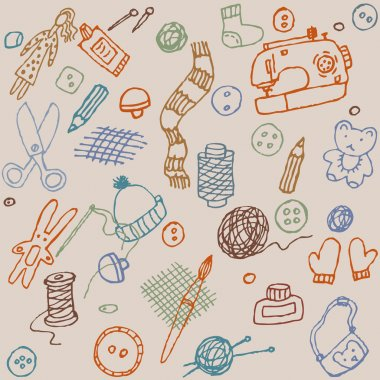 Hand made objects seamless pattern