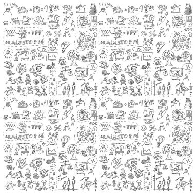 Seamless pattern with collection of icons