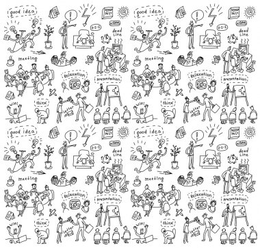 People in office seamless pattern