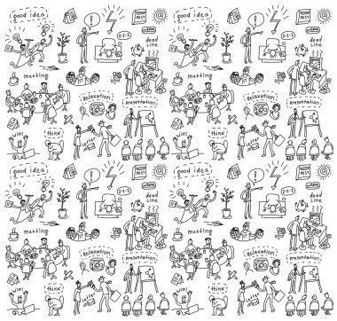 People in office seamless pattern
