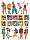 emberek számok és karakterek ikonok