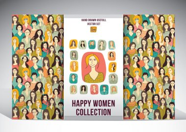 seamless pattern and women icons